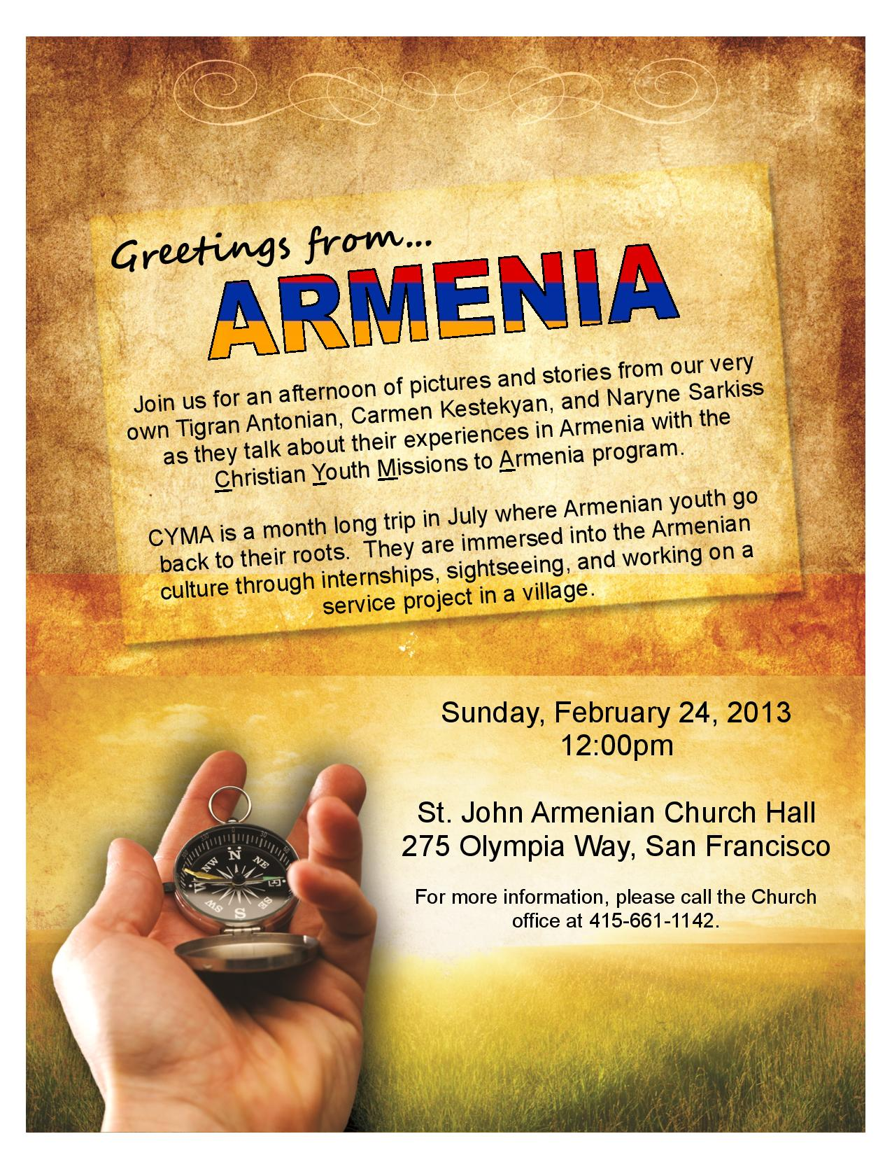 Greetings From Armenia Presentation St John Armenian Apostolic