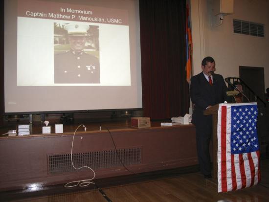 Pete Manoukian speaking about his son, Captain Matthew
