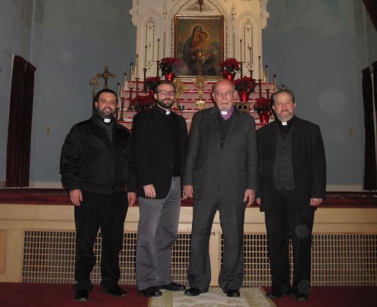 From left to right: Fr. Hovel, Fr. Mesrop, Abp. Aris Shirvanian, Fr. Datev