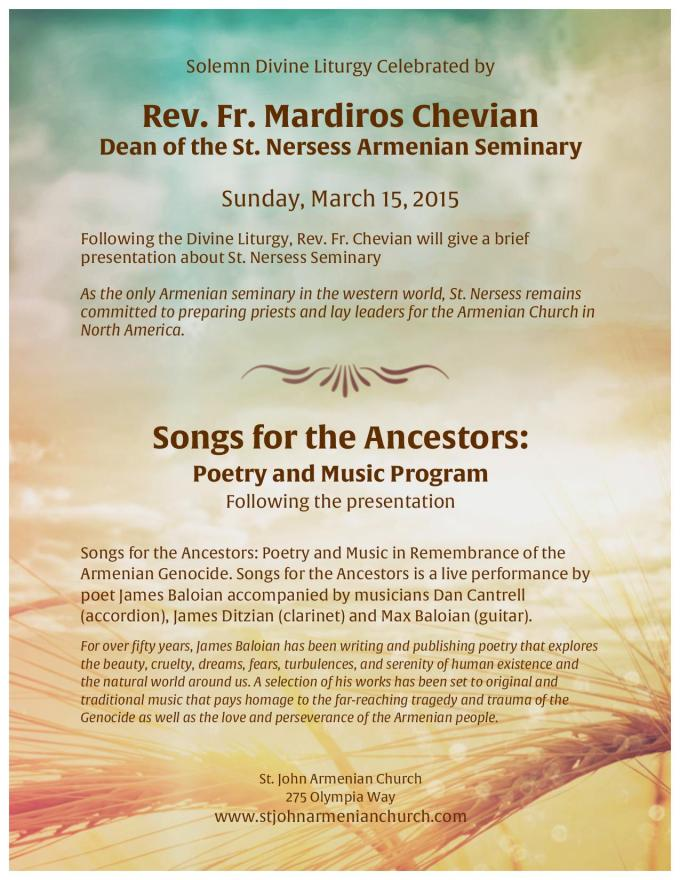 Solemn Divine Liturgy, Songs for the Ancestors: Poetry and Music