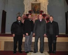 From left to right: Fr. Hovel, Fr. Mesrop, Abp. Aris Shirvanian, Fr. Datev
